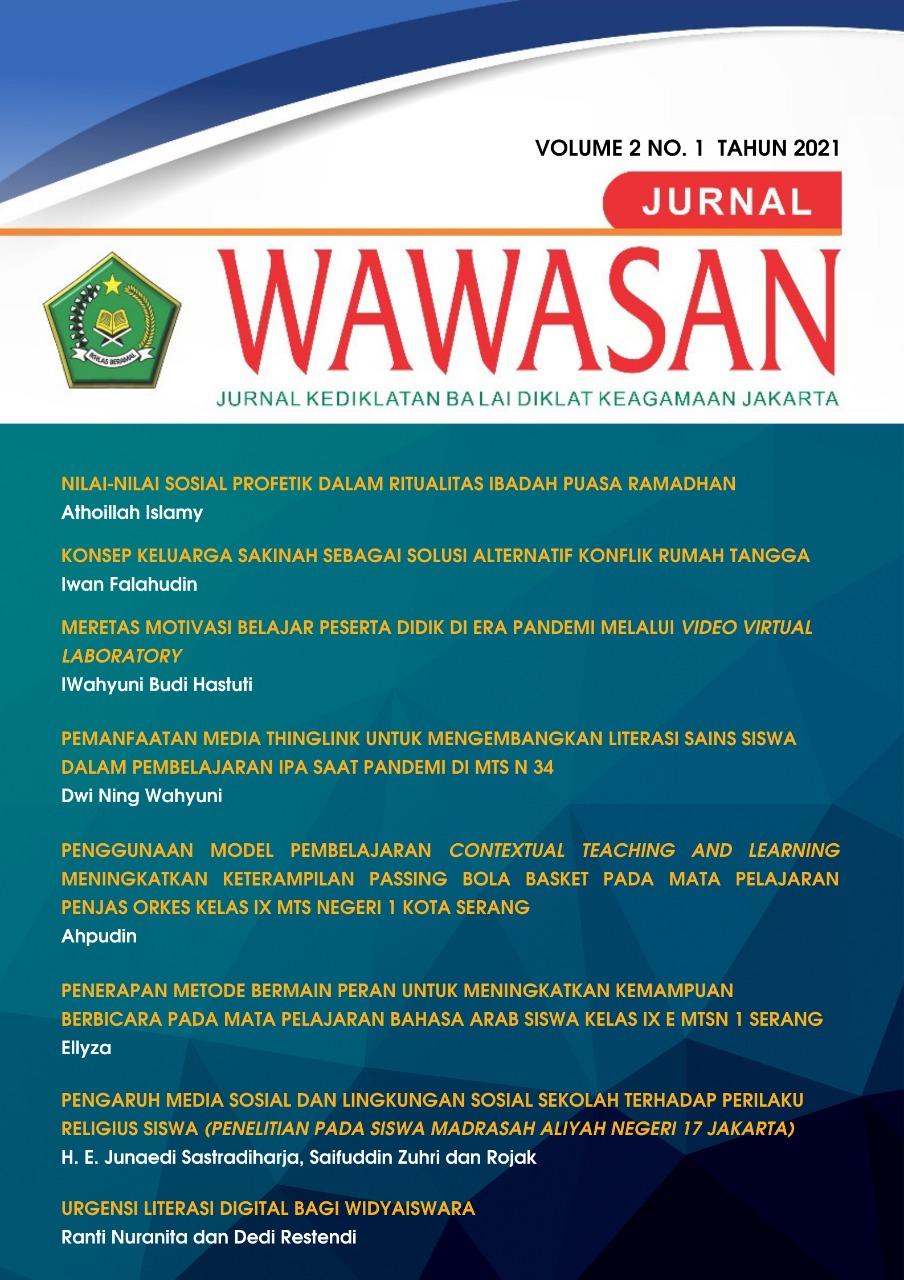 View Vol. 2 No. 1 (2021): WAWASAN: Jurnal Kediklatan Balai Diklat Keagamaan Jakarta